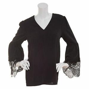 2cb9307ac3 Details about NEW $110 NINE WEST WOMEN'S BLACK FLUTTER SLEEVE LACE BLOUSE  TOP SIZE L