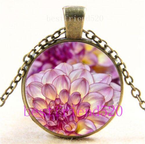 Vintage Pink Dahlia fleurs cabochon verre Bronze Chaîne Collier Pendentif
