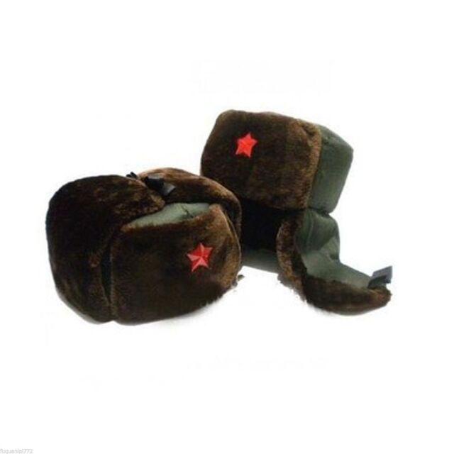 89c4fcf50 Chinese Russian Army Trooper Winter Hat Ushanka Green Warm Cap Red Star  Badge