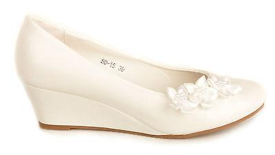 Off White Satin Flower Wedge Heels Wedding Pumps Bridal Shoes