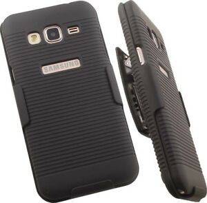 BLACK-HARD-CASE-COVER-BELT-CLIP-HOLSTER-STAND-FOR-SAMSUNG-GALAXY-AMP-PRIME