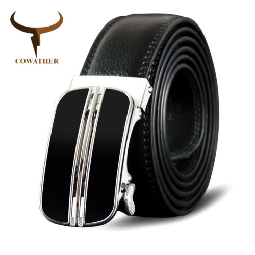 COWATHER® Elegant Man Cowhide Leather Belt Metal Auto Buckle Genuine Leather