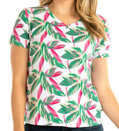 FRESH PRODUCE S M L XL 49$ Rainbow Foliage White Tropical V-Neck T Shirt Top Tee