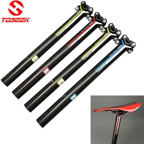 TOSEEK 3K Full Carbon Bicycle Seatpost Bike Seat Post 27.2//30.8//31.6*350//400mm