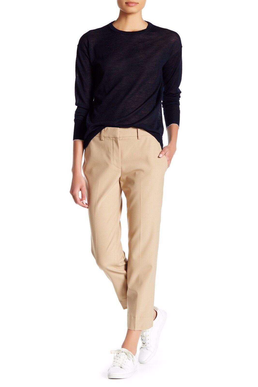 NWT Helmut Lang Raw Hem Cropped Trousers Pants Wool Blend Khaki  – 4, 6, 10