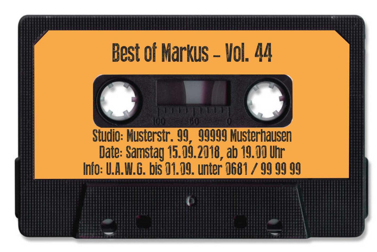 Einladungskarten für Geburtstagsfeier Musikkassette 80er
