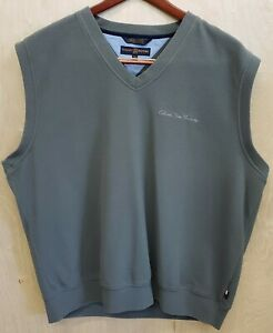 Tommy-Hilfiger-Mens-Green-Cotton-Sweater-Vest-V-Neck-XXL-2XL-CSU-Colorado-State