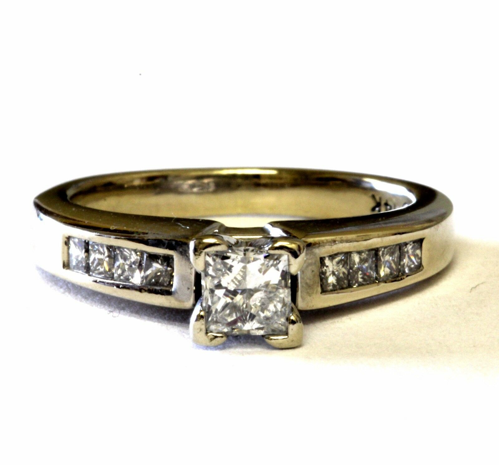 14k white gold .65ct VS G womens princess diamond engagement ring 4.4g estate