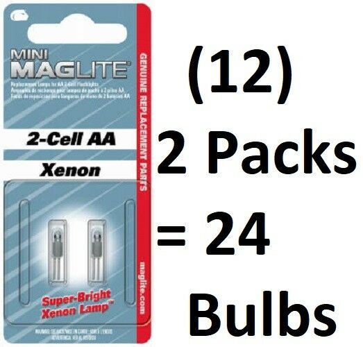 (12) Mini Maglite 2 pk  AA  Xenon Incandescent Replacement Lamp   Bulbs LM2A001