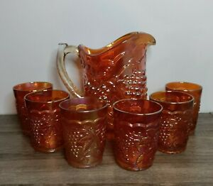 Vintage Imperial Grape Marigold Carnival Glass Water Pitcher Set w/ 6 glasses