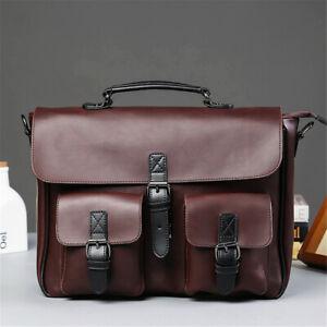 Men-Retro-Leather-Briefcase-Messenger-Shoulder-Handbag-Crossbody-Laptop