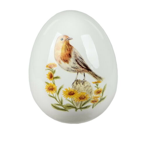 Deko Ei mit Vogel Design Osterei Keramik Dekoei Oster Deko Figur Eier Meise Nest