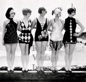 Vintage Flappers Swimsuits Photo 1923 Peerless Auto Car Jazz Prohibition era