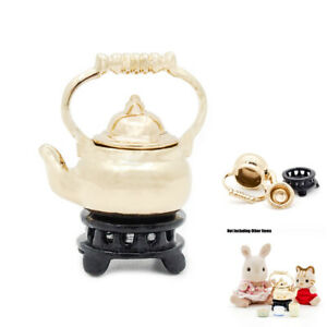 1:12 Teapot Kettle With Lid /& Holder Tableware Kitchen Metal Miniature Dollhouse