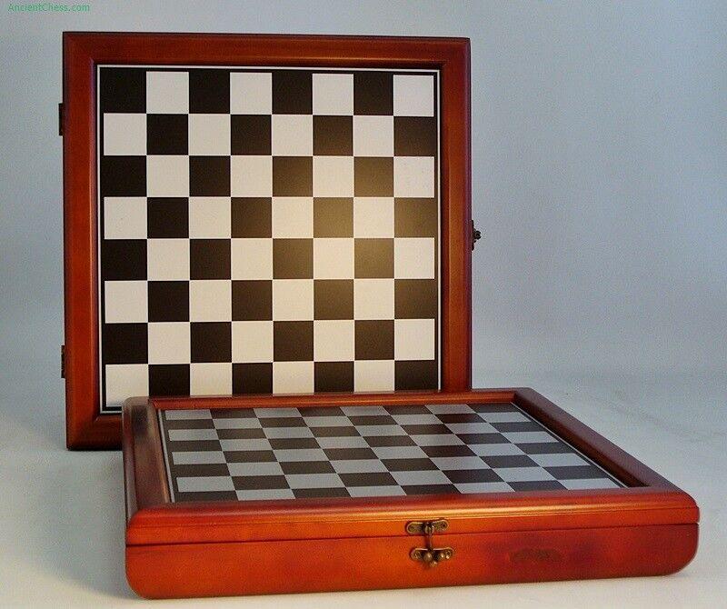 CHERRY STAIN CHESS CASE - 15½  - 1½  SQ's METALLIC COLorosso BOARD (ww 40394cct)