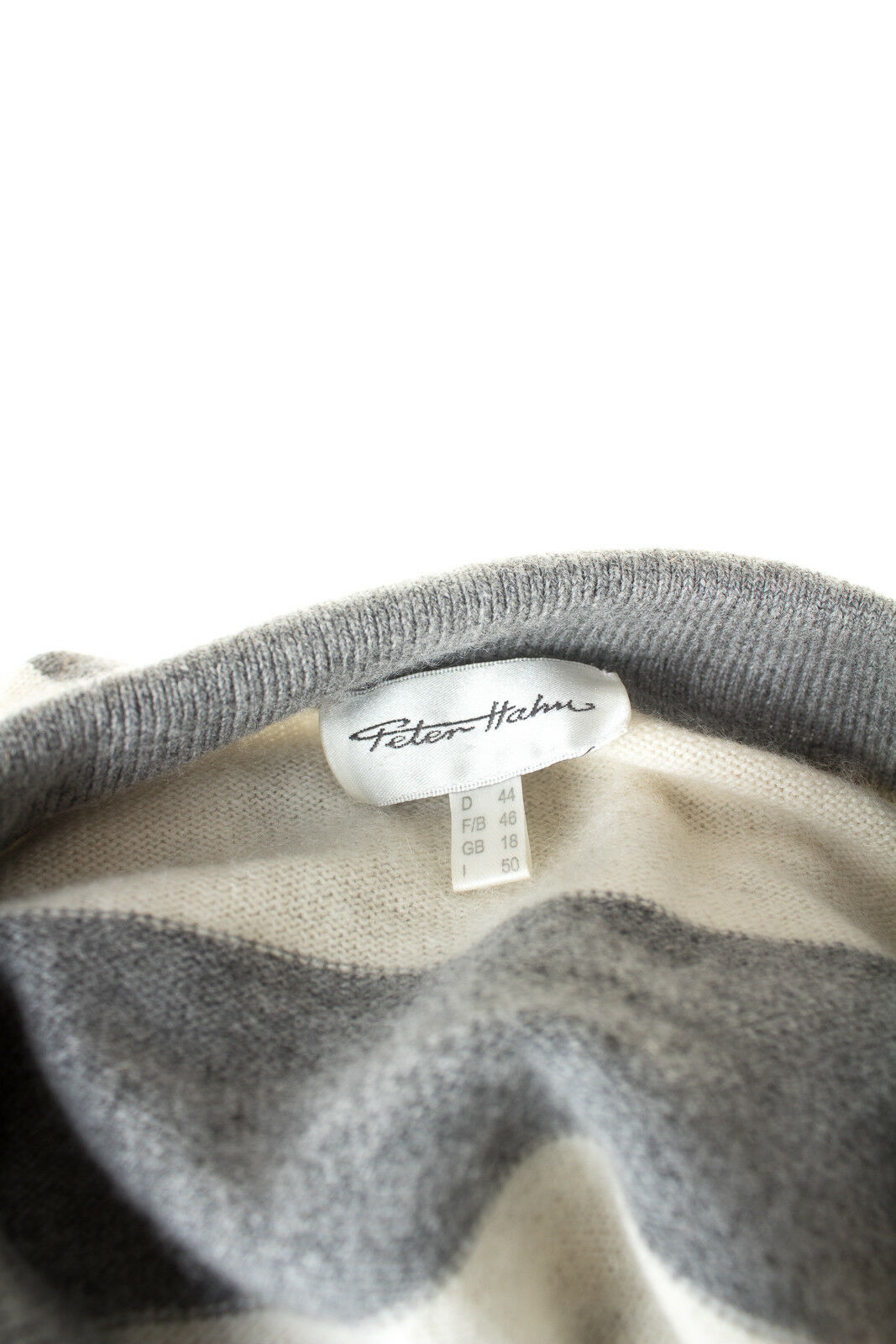 Peter Peter Peter Hahn Pullover con lana Kashmir Donna Tg. de 44 in grigio Perl Bianco a3c025