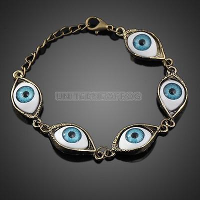 UN3F Fashion Punk Rhinestones Studded Evil Eyes Lovely Eyeballs Style Bracelet