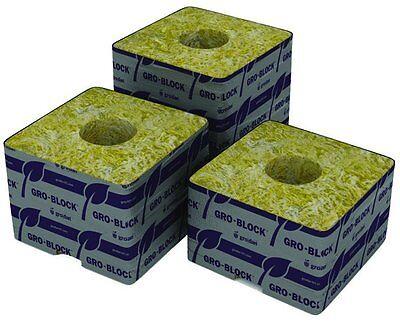 """Grodan 3"""" x 3"""" x 2.5"""" w/ Holes 8 Pack Stonewool Starter Plugs rockwool cube inch"""
