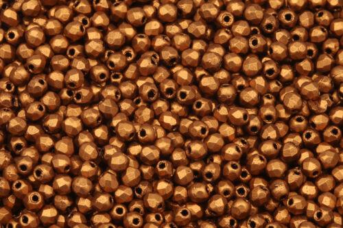200 2 mm100 Feuerpolierte böhmische Glasschliffperlen *Matte Brass Gold*