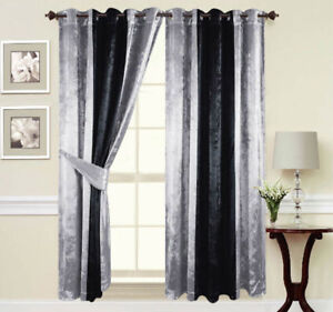 Curtains-Ring-Top-Eyelet-Ready-Made-Fully-Lined-Thick-Crush-Velvet-Silver-Black