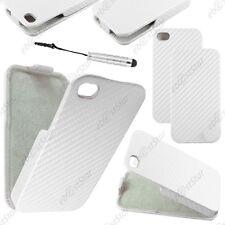 Etui Coque Housse a Rabat Revêtement Carbone Blanc Apple iPhone 4S 4+Mini Stylet