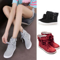 Ladies Womens Hi High Top Lace Up Flat Canvas Pumps Trainers Plimsoll Shoes Size