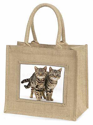 Zwei Braun Tabby Katzen Große Natürliche Jute-einkaufstasche Weihnachten I,