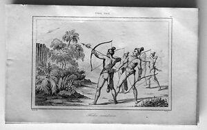 1837 de Rochelle Antique Print United States - Indians shooting Flaming Arrows