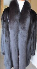 "34"" GENUINE BLACK MINK GENUINE FOX TRIM TUXEDO COAT MACY'S FUR VAULT"