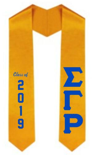 "Sigma Gamma Rho /""Class Of 2019/"" Graduation GOLD Stole Sash w// Vinyl Applique"