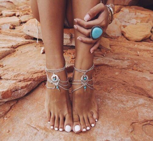 CATENA D'ORO Cavigliera argento catena cavigliera Multi chain cavigliera Boho Beach Chic Carino