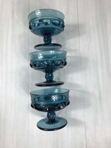 3 Piece Indiana Glass Kings Crown Blue Carnival Footed Compote Sherbet Dish Bowl