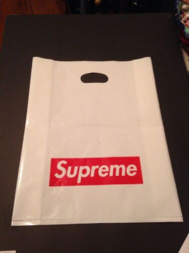 "Supreme White Plastic Shopping Bag Red Box Logo 13/"" x 16/"""