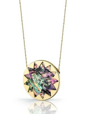 House of Harlow 1960 Sunburst Abalone Gold Pendant Necklace