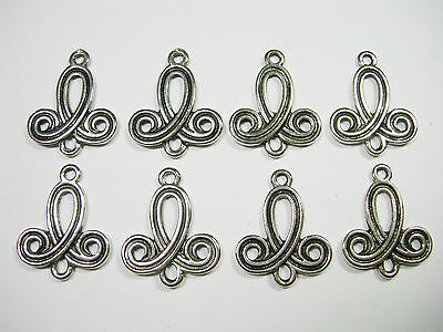 Spiral Antique Silver plated drops, hoops, loops, connectors, links, 8 - 23mm