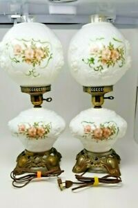 Pair-of-Vintage-Puffy-Rose-GWTW-Hurricane-Parlor-Table-Lamps-21-034-Tall-3-way