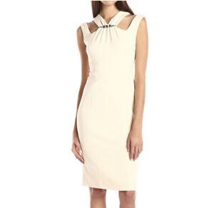 Anne-Klein-Dress-4-Cream-Beige-Embellished-Jewel-Cut-Out-Sheath-Women-s-NWT