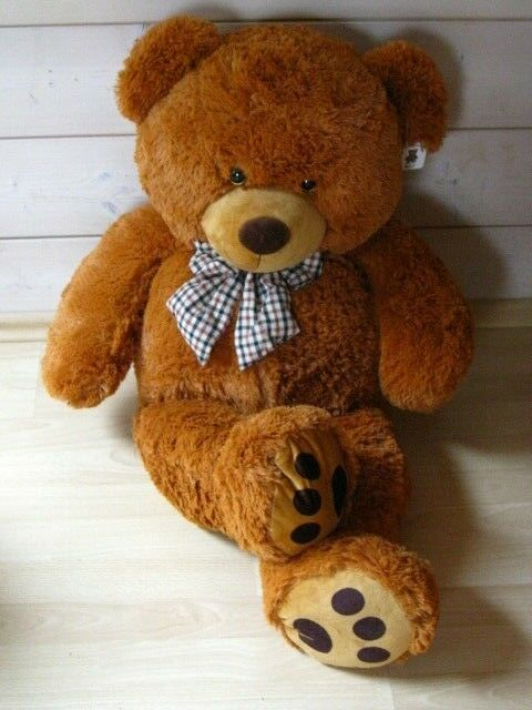 Teddybärvon Monza mit Karoschleife so süß rotbraun rotbraun rotbraun  100 x 60 cm neu 8658d8
