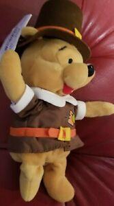 """a Disney 8"""" Pilgrim Pooh Bean Bag Beanie NWT Winnie the Pooh Thanksgiving"""