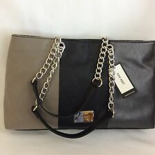 Nine West Sassa Satchel Handbag Color Block Black Taupe Hematite Chain Straps Lg