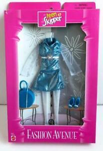 1997-Barbie-Fashion-Avenue-Teen-Skipper-Blue-Silver-Dress-Set-18379-New-Mattel