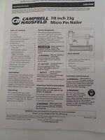 Campbell Hausfeld Manual7/8 Micro Pin Nailer Chn10500 Operating Instructions