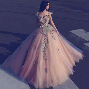 Gorgeous Flower Applique Quinceanera Dress Formal Pageant Prom Wedding Ball Gown