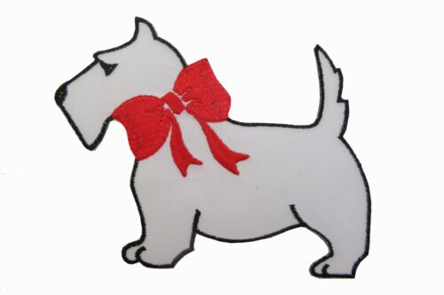 """#1009 5/"""" White w//Red Bowknot Scottie Dog Embroidery Iron On Applique Patch"""