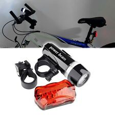 USA Waterproof 5 LED Lamp Bike Bicycle Front Head Light + Rear Safety Flash