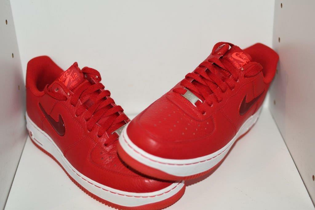 NIKE FORCE 1 Sport Rojo Cuero AIR Joya Zapatos para hombre-Para Hombre Talla 9