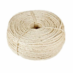 6mm x 10 or 5M Sisal Rope 100% Natural Fibre Cat Scratch, Decking, Garden,Arbour