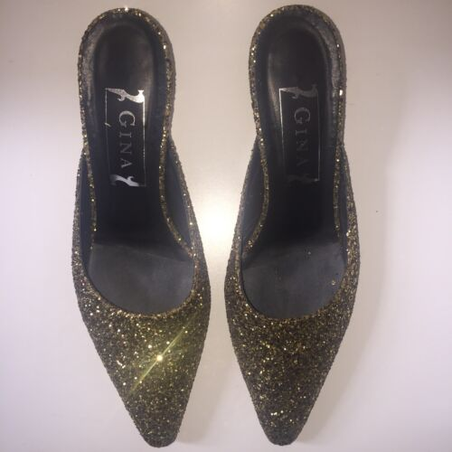 5 Mule Gina Shoes Heels 6 Kitten Slippers Gold Glitter Sparkle Size Bronze nwUURqgZ6F