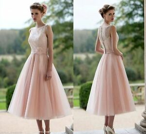 Image Is Loading Blush Pink Short Tea Length Bridesmaid Dress With