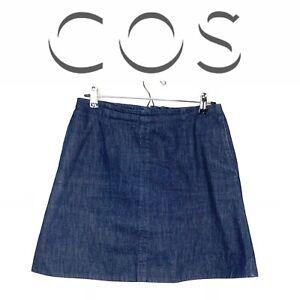 14c89e2c0082 Cos Womens A Line Knee Length Skirt Blue Cotton Denim Size 10 ...